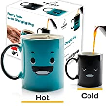 InGwest Home. Morning Coffee Mug. 11 ounce. Changing Color Mug with Funny Smile. Ceramic Heat Sensitive Heat Sensitive Mug\Cup. Novelty Heat Sensitive Funny Mug. Gift Box