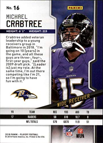 Amazon.com  2018 Playoff Football  16 Michael Crabtree Baltimore Ravens  Official NFL Trading Card made by Panini  Collectibles   Fine Art 985bb631a
