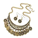 Fabal Ethnic Carved Coins Nice Necklaces&Earrings Set for Women Fine Jewelry Colar