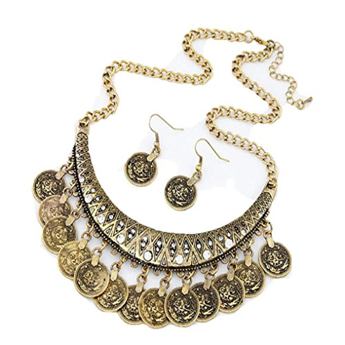 Fabal Ethnic Carved Coins Nice Necklaces&Earrings Set for Women Fine Jewelry Colar - Colar Gold