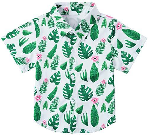 (RAISEVERN Little Boy's Button Down Shirts Tropical Short Sleeve Cartoon Green Leaves Hawaiian Dress Shirt for Toddler (2-3T))