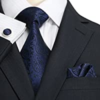 Landisun Paisleys Mens Silk Tie Set: Necktie+Hanky+Cufflinks