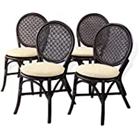 Set of 4 Denver Dining Armless Accent Side Chair Handmade Rattan Wicker Furniture Dark Brown
