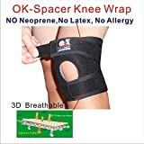 C&A Support 3D Breathable Elastic Fabric 6.5 Inch Width Knee Brace With Silicone Pad, Black, One Size Fit Most, One PCS