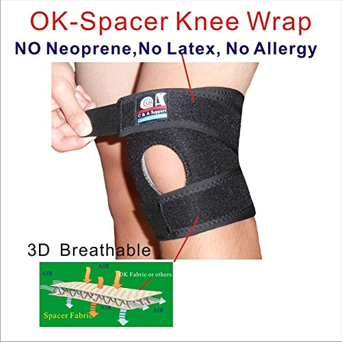 C&A Support 3D Breathable Elastic Fabric 6.5 Inch Width Knee Brace With Silicone Pad, Black, One Size Fit Most, One PCS by C&A Support