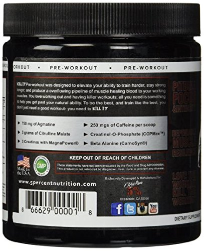 Rich Piana 5% Nutrition KILL IT Pre Workout (Fruit Punch) 11.11oz (315 Grams) 30 Servings