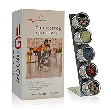 Gypsy's Kitchen Spice Rack. Self Standing Countertop Magnetic Spice Organizer. Stainess Steel