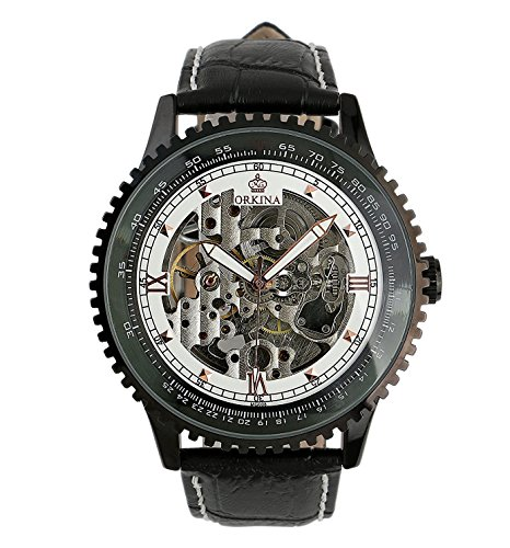 Hand Automatic Watch - Carrie Hughes Men Black Steampunk Automatic Watches Luminous hand Stainless steel Skeleton Mechanical Waterproof Watch (OKN008-1 Silver)