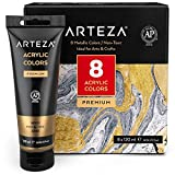 Arteza Metallic Acrylic Paint, Set of 8 Metallic
