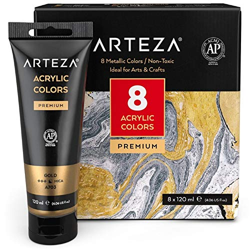 Arteza Metallic Acrylic Paint, Set of 8 Metallic Colors in 4.06oz/120ml Tubes, Rich Pigments, Non Fading, Non Toxic Paints for Artists, Hobby Painters & Kids, Art Supplies for Canvas Painting