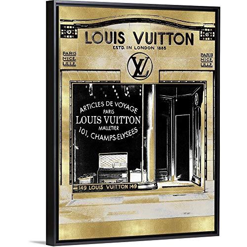 Designer Storefront in Gold Black Floating Frame Canvas Art, 14