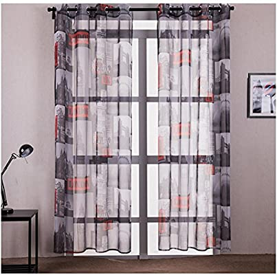 SANMI Ventana Tratamiento Voile Cortinas Transparentes para Patio/Villa/ salón/Puerta corredera (Juego de 2), 2 * 140cm*160cm: Amazon.es: Hogar