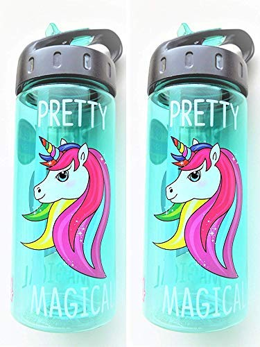 COOL GEAR BPA- Free Unicorn Sip Water Bottle with Straw (2-Pack)