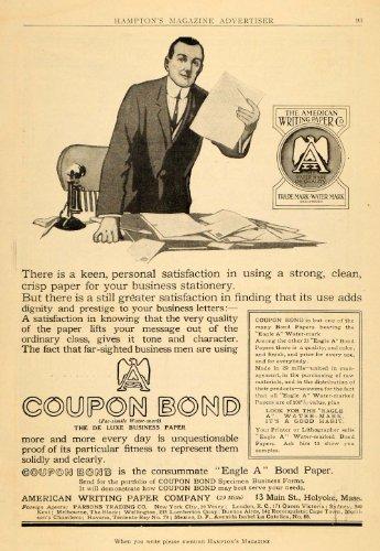 1911 Ad American Writing Paper Coupon Bond Businessman Stationery Letter Desk - Original Print - Oke Holy