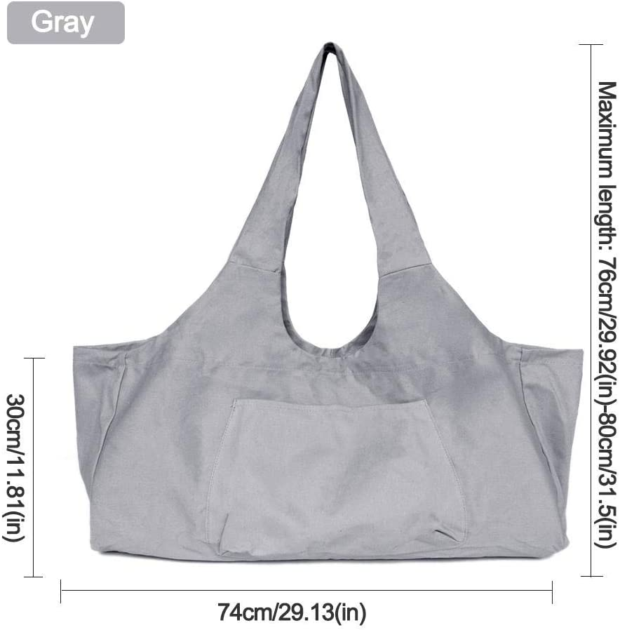 sac fourre-tout Aolvo pour yoga avec bandouli/ère sac en toile coton 2 poches suppl/émentaires pour 2 tapis de yoga cl/é Sac de yoga zipp/é grand 2 serviettes noir