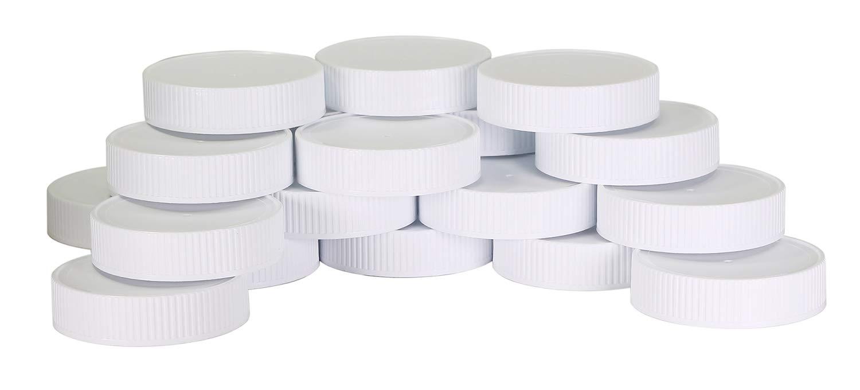 Plastic Mason Jar Regular Mouth Screw-On White Lids-24 Pack-Standard Size Jar Storage Caps-BPA Free - Made in USA by Pinnacle Mercantile