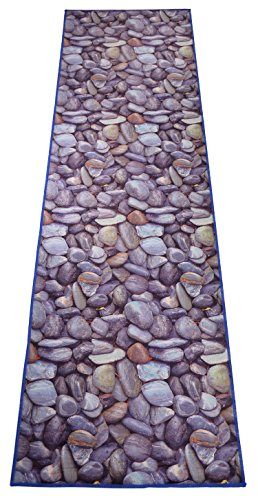(Nature Inspired Printed Runner Rug Slip Resistant TPR Rubber Back Exotic Patterns (Stones Grey Blue, 1'11 x)