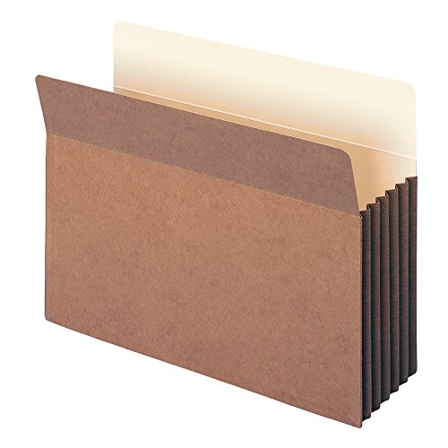 "Smead TUFF® Pocket File Pocket, Straight-Cut Tab, 5-1/4"" Expansion, Letter Size, Redrope, 10 per Box (73390)"