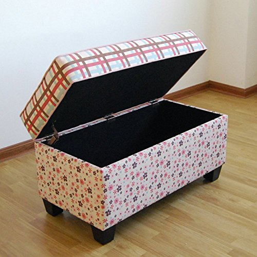 Plaid Floral Wooden Handmade Upholstered Storage Bench With Poly-cotton Fabric Blend