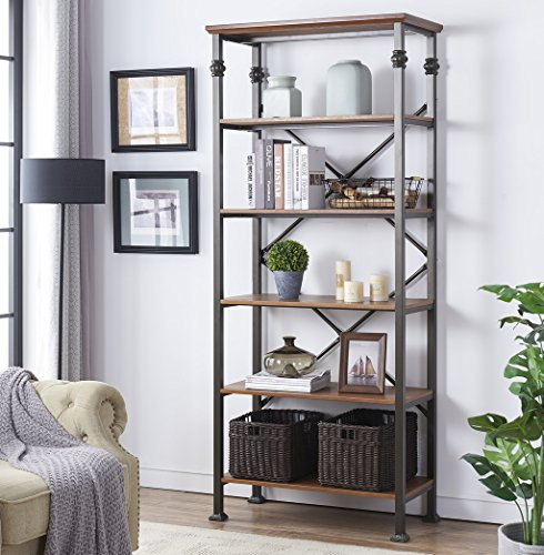 - O&K FURNITURE 6-Tier Industrial Style Bookcase, Vintage Free Standing Bookshelf, 76