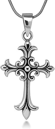 Silver black cross vintage style soft gothic pendant hook clasp necklace