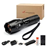 Rechargeable LED Tactical Flashlight Kit - Moobibear 2017 Latest 800lm Ultra Bright Handheld Flashlights, Adjustable Focus, 5 Lighting Modes, Water Resistant Torch For Camping Hiking