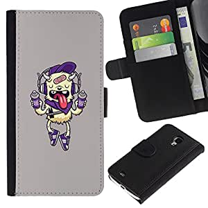 Paccase / Billetera de Cuero Caso del tirón Titular de la tarjeta Carcasa Funda para - Dog Funny Cute Pink Drink - Samsung Galaxy S4 Mini i9190 MINI VERSION!