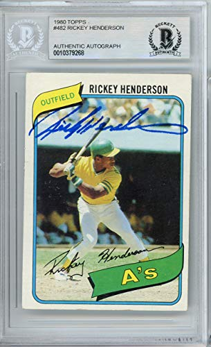 Rickey Henderson Autographed 1980 Topps Rookie Card #482 Oakland A's Vintage Beckett BAS #10379268