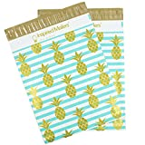 Inspired Mailers Poly Mailers 10x13 Deluxe Golden Pineapple Print – Pack of 100 – Unpadded Shipping Bags