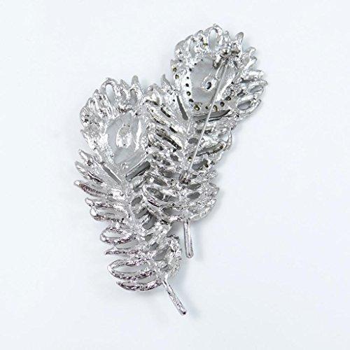 EVER FAITH® Cristal Autrichien Durable Plume Paon Noces Broche Clair Ton d'Argent A14007-1
