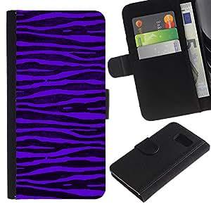 [Neutron-Star] Modelo colorido cuero de la carpeta del tirón del caso cubierta piel Holster Funda protecció Para Samsung Galaxy S6 [Purple Zebra Stripes Negro vibrante]