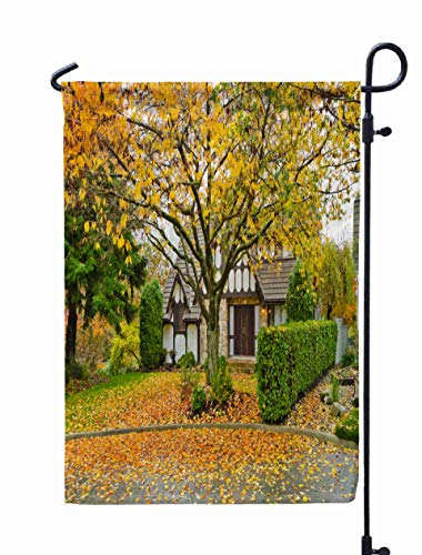 Shorping Welcome Garden Flag, 12x18Inch Front Yard The House Covered Leafs in Fall Autumn Wet Day Vancouver Canada for Holiday and Seasonal Double-Sided Printing Yards Flags]()