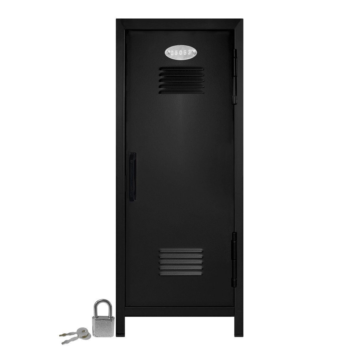 Mini Locker with Lock and Key Black -10.75'' Tall