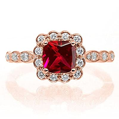 Limited Time Sale: 1.50 Carat Red Ruby (Round cut Ruby) and Diamond Engagement Bridal Wedding Ring Set in 10k Rose Gold