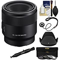 Sony Alpha E-Mount FE 50mm f/2.8 Macro Lens with 3 UV/CPL/ND8 Filters + Hood + Kit