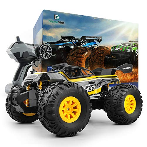 Gizmovine RC Car Toys, Remote Control Monster Truck with 2.4GHz Radio Controlled Vehicle Off Road Remote Control Car for Kids (Yellow)