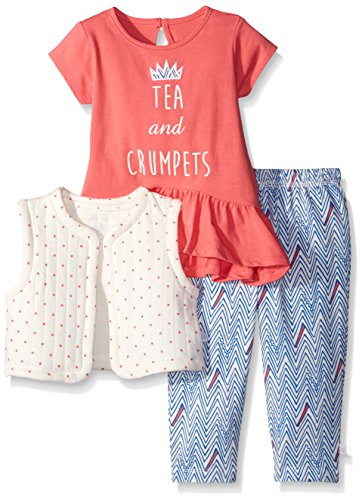 Rosie Pope Little Girls 3 Piece Red Jersey Top, Quilted Jersey Vest and Chevron Printed Legging Set, Sunkist Coral, 18 Months - Jersey Quilted Vest