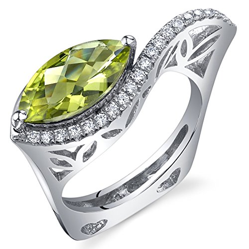 Filigree Style 2.00 Carats Marquise Cut Peridot Ring in Sterling Silver Rhodium Finish Size 5