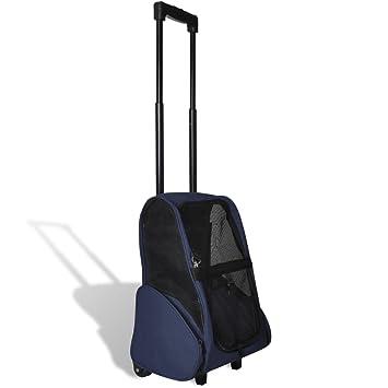 vidaXL Sac de transport à roulettes pliable multifonction pour animaux bleu z89tJQ1
