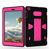 Teenystar Case for Amazon Fire HD 8 (2017 7th Generation),[3 in 1] Shock Proof High Impact Hybrid Drop Proof Armor Defender Protection Cover Built with Stand for All-New Fire HD 8 Tablet (Black/Rose)