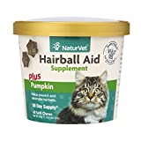 NaturVet Hairball Aid Plus Pumpkin for Cats, 60 ct Soft Chews, Made in USA