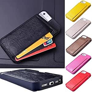 LCJ Back Card Holder PU Leather Case for iPhone 5/5S (Assorted Colors) , Rose