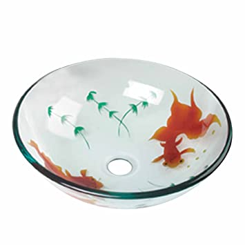 Good Tempered Glass Vessel Sink With Drain, Clear Single Layer Painted Koi Fish  Bowl