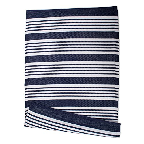 DII Contemporary Indoor/Outdoor Lightweight Reversible Fade Resistant Area Rug, Great For Patio, Deck, Backyard, Picnic, Beach, Camping, & BBQ, 4 x 6', Nautical Blue Multi - Cleaning Rug Polypropylene