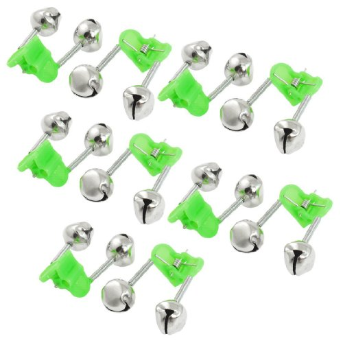 Honbay 20 Pcs Fishing Rod Alarm Dual Alert Bells Green Silver Tone ()