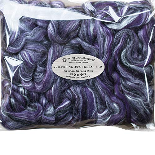 Silk Merino Fiber for Spinning. Super Soft Combed Top Wool Roving for Hand Spinning, Wet Felting, Nuno Felting, Needle Felting, Soap Making, Paper Making and Embellishments. Night Out (Best Soap For Wet Felting)