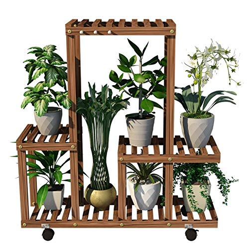 CATRP Multi-Layer Flower Ladder Display Rack with Wheels Wooden Balcony Floor-Standing Plant Stand Outdoor Decoration
