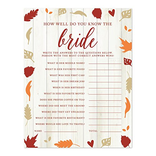 Andaz Press Fallin' in Love Autumn Fall Leaves Wedding Party Collection, How Well Do You Know The Bride? Bridal Shower Game Cards, 20-Pack]()