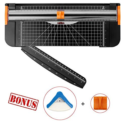 EOSAGA Paper Cutter A4 Titanium Paper Trimmer Scrapbooking Tool with Automatic Security Safeguard Guillotine and Replacement Blades, Corner Cutter for PapeSlide Ruler Design for Paper,Photos Or Labels