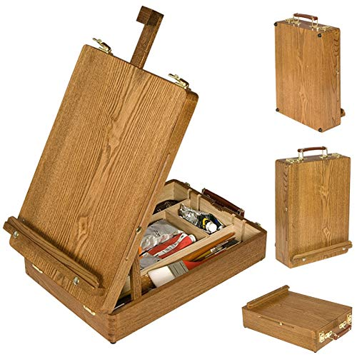 Soho Urban Artist Sketch Box and Table Artist Easel - All Media Adjustable Angle Desk Top 5 Storage Compartments Case - Oiled Beech Wood